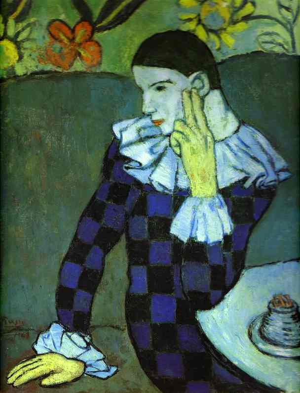 Leaning Harlequin, 1901, by Picasso