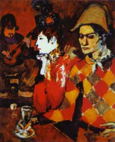 In Lapin Agile, Harlequin with a Glass, by Picasso, 1905