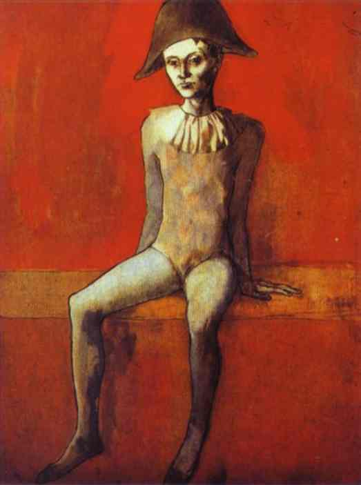 Harlequin Sitting On A Red Couch, by Picasso, 1905