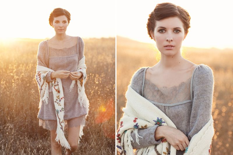 02 Ruche lookbook, gray Victorian sweater dress, Fall 2009