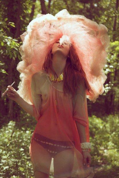 Girl woods smoke pink. photographed by jamie nelson. found via studdedheartsdotblogspotdotcom