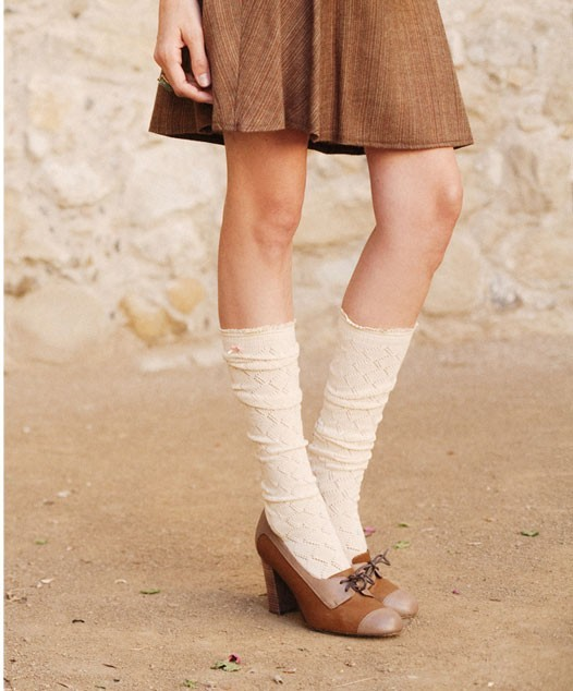 Short tweed skirt, cream socks, oxford shoes, ruche lookbook winter 2009, photo by stephanie