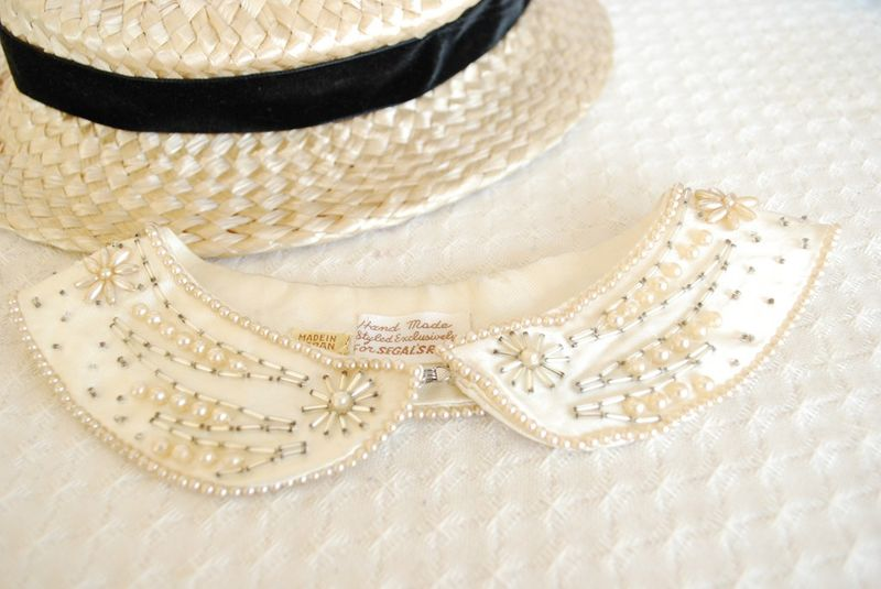 Beautiful beaded 1950s peter pan collar hand made in japan, photocredit is fieldguided.