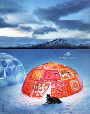 Artful igloo and canine, hermes09 winter at last campaign.
